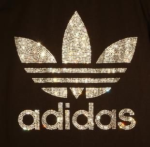 Adidas Rhinestone iron on in white 27cmx26cm  | fantasyforU - Craft Supplies on ArtFire