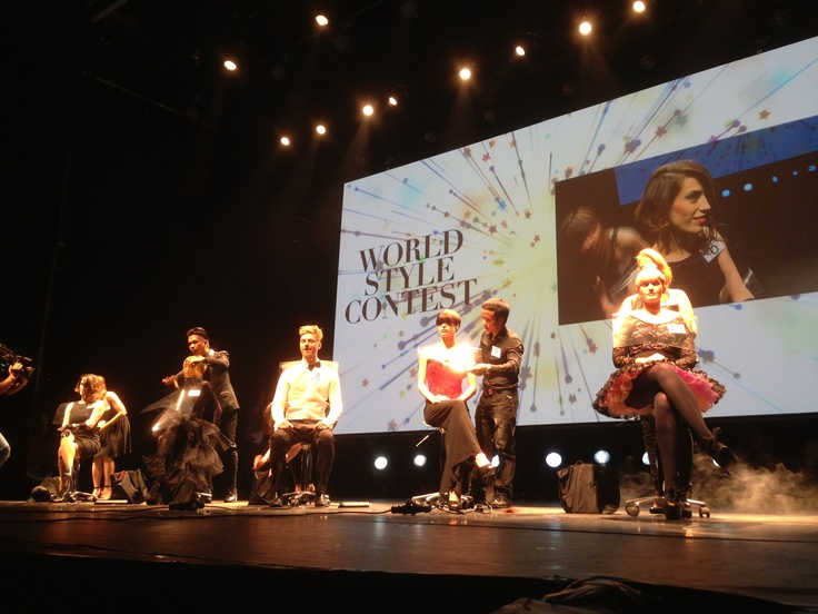 The World Style Contest Finalists (group 1) at work on stage at Folies Bergere! #wwht2013 #davines #paris