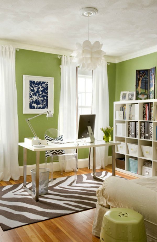 Green-Walls-Bright-Colorful-IKEA-Bookshelves-Acrylic-Chair-Zebra-Rug-White-Modern-Office-Curtains