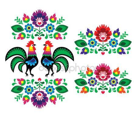 Польский этническая Цветочная вышивка с петухи - традиционная народная картина — стоковая иллюстрация #25679021