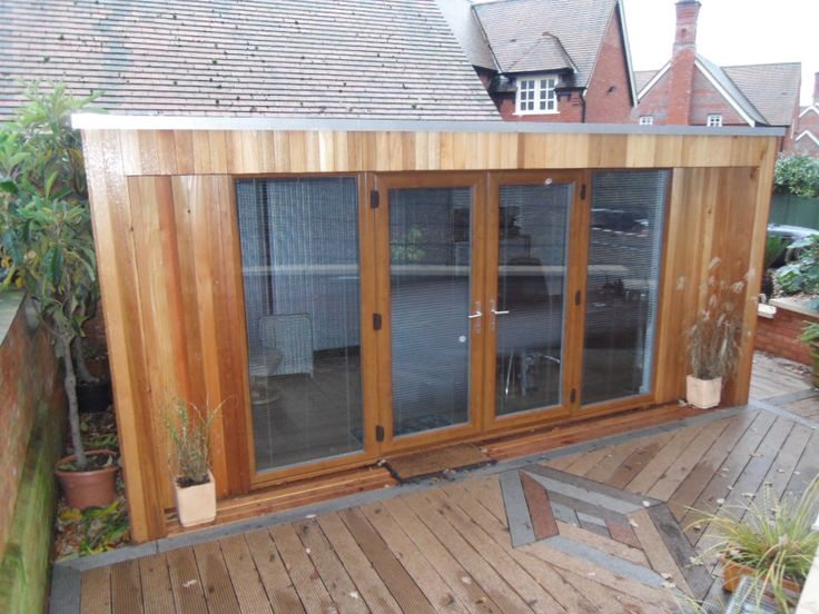 Centre Glazed Garden office built in a conservation area with planning permission. Cheshire