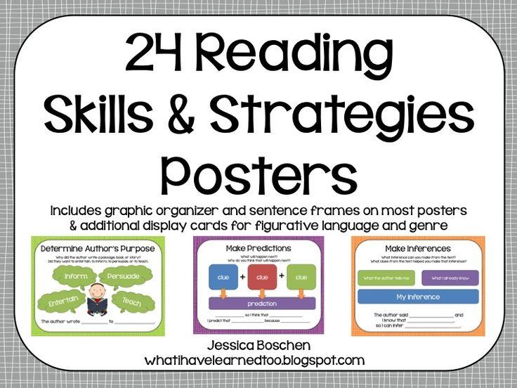 Reading Skills & Strategies Posters via @whatilearned