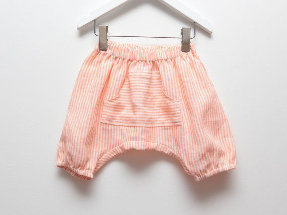 Peach and white stripe linen baby harem shorts by ZanziBach