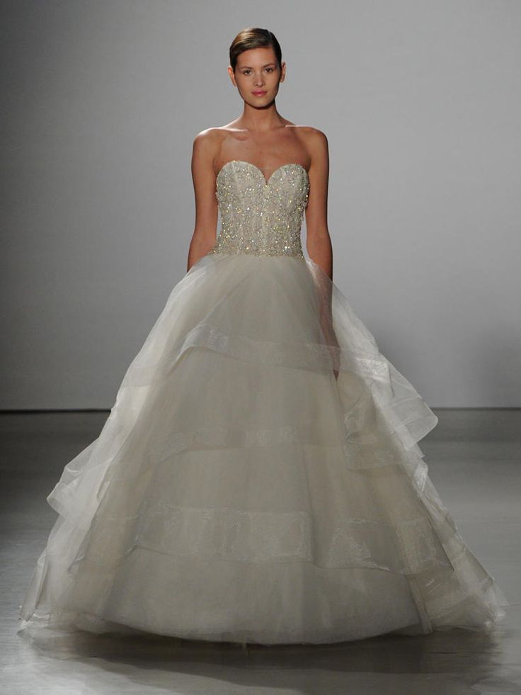 Kenneth Pool Spring 2016 Rina strapless ball gown wedding dress with crystal hand beaded bodice and layered tulle skirt