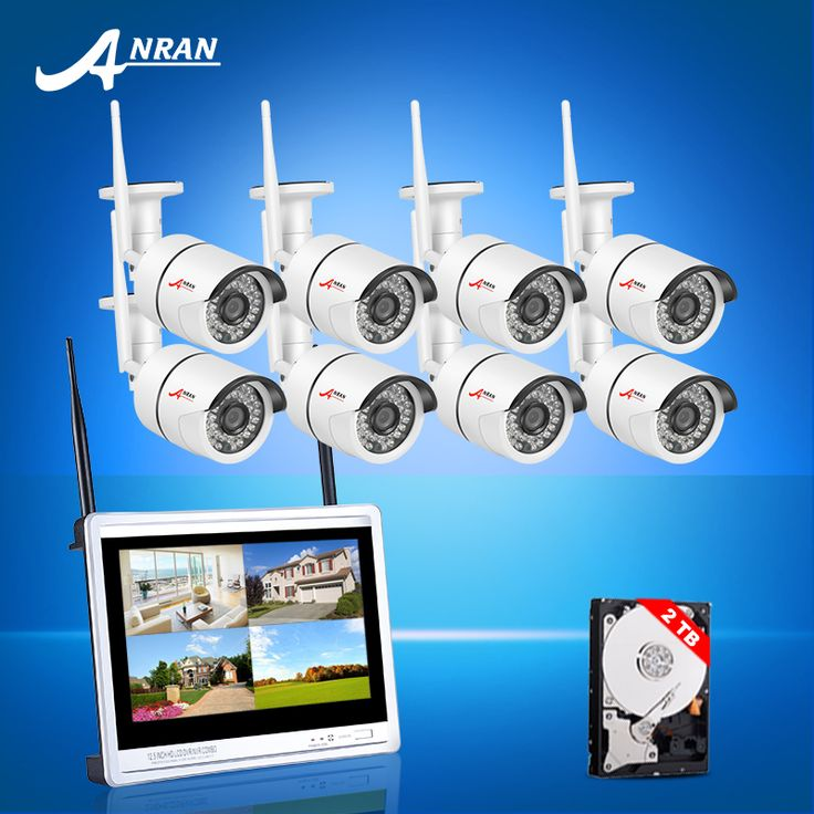 Plug And Play 8CH Wireless NVR CCTV Kit+12'LCD Screen 2TB HDD&720P HD Outdoor Weatherproof 36 IR WIFI Surveillance Camera System