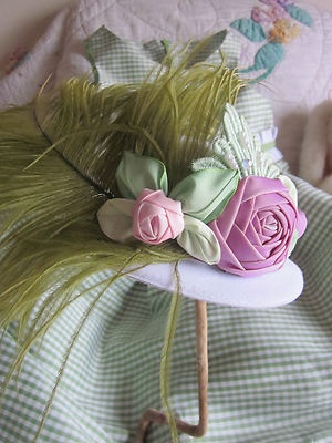 Girls French Ombre Flower Mini Top Hat ~Fascinator~Photo Prop`Vtg. Ostrich Plume; Ebay- Just type in French Ombre