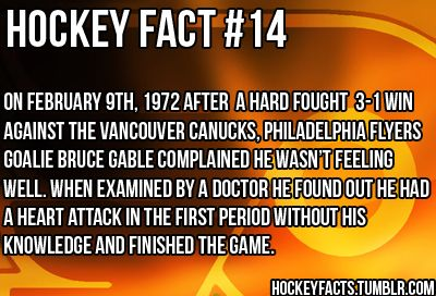 Hockey players: The only athletes who keep playing after getting their teeth knocked out, their nose broken, and apparently after having a heart attack. #TheBestSport