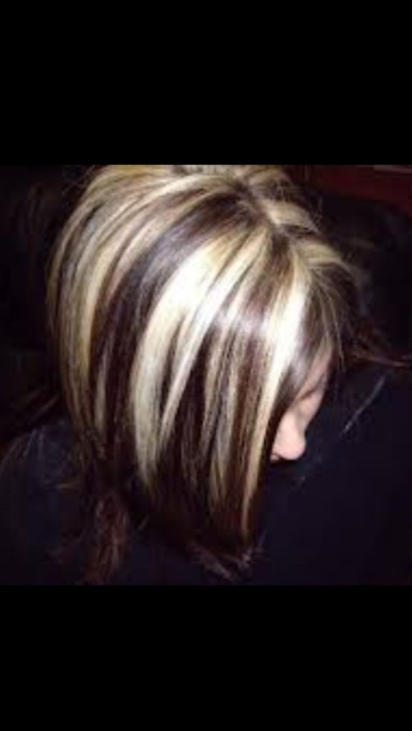 Chunky Pale Blonde Highlights With Dark Chestnut Brown