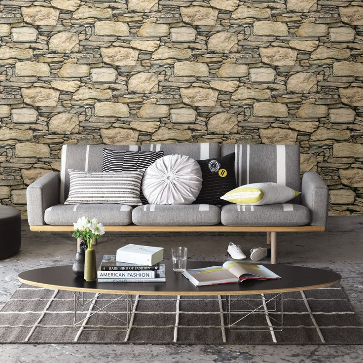 Fine Decor Distinctive Slate Stone Wallpaper - Yellow - http://godecorating.co.uk/fine-decor-distinctive-slate-stone-wallpaper-natural-yellow/