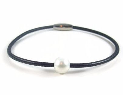 Black Leather Anklet with Pearl Bead