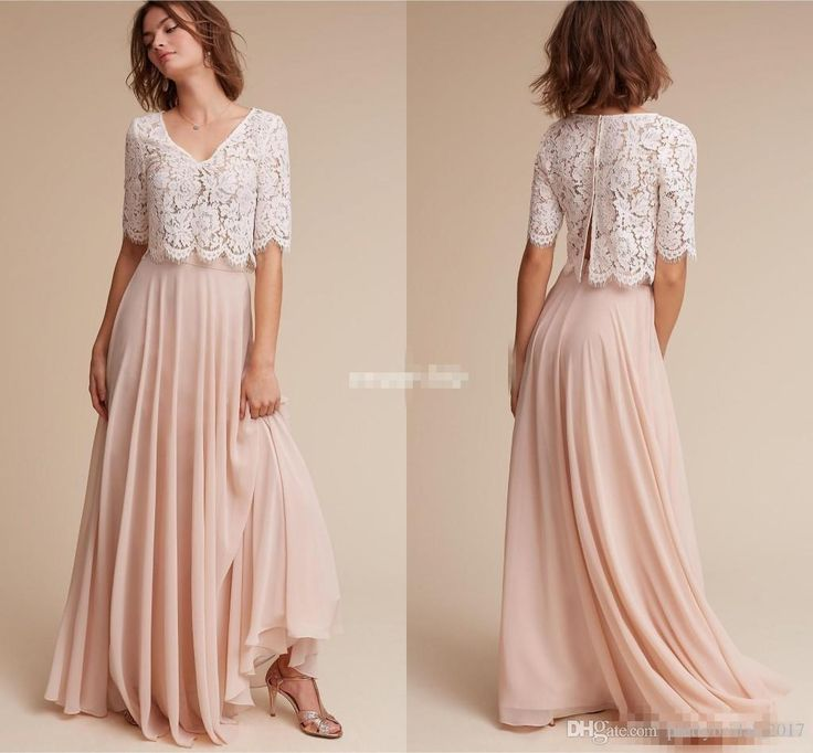 Lace & Chiffon Bridesmaid Dresses 2017 Cheap Under 100 With Half Sleeves & V Neck Ivory Lace Blush Chiffon Long Junior Formal Dress Chief Bridesmaid Dresses Childrens Bridesmaids Dresses From Prettybridal_2017, $91.67| Dhgate.Com