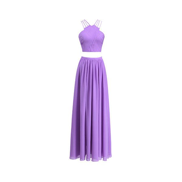 Fame&Partners Split Two Piece Bright Lavender French Rebelle Two Piece... ($240) ❤ liked on Polyvore featuring dresses, bright lavender, splittwo piece, lavender prom dresses, purple bridesmaid dresses, purple dress, purple formal dresses and 2 piece prom dresses