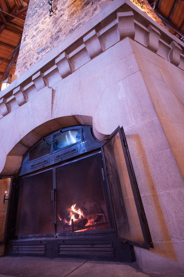 Fireplace, main lobby, Chateau Montebello, courtesy Sophie