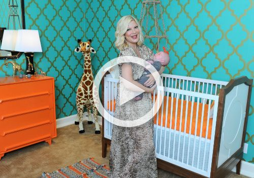 Room Tour: Tori Spelling's Baby Boy Nursery   Project Nursery... LOVE IT- Could do a lot of things with pink instead of turquoise