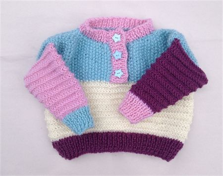 Knitted Multi coloured jumper suit 6 to 12 months hand knitting