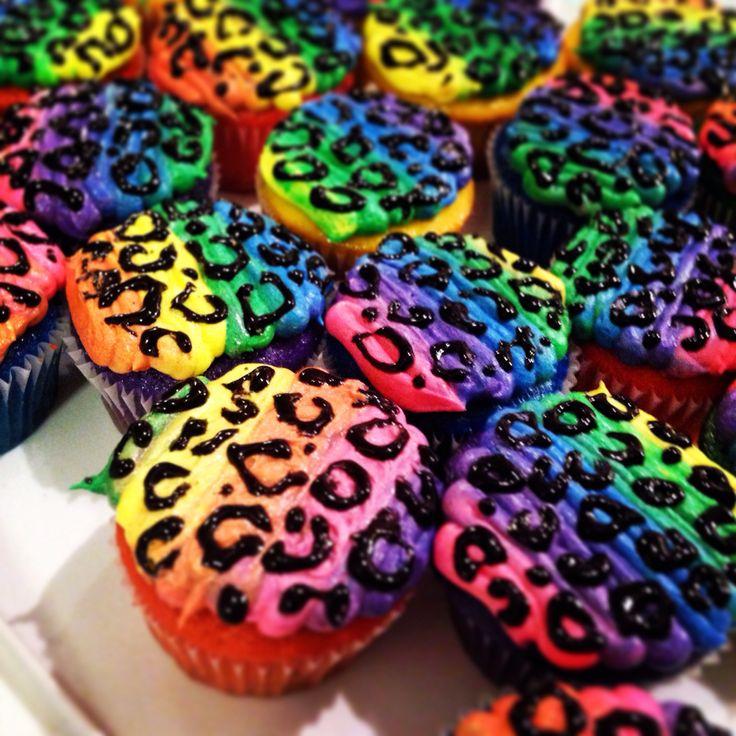 Rainbow leopard cupcakes!