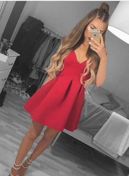 Red V Neck Spaghetti Strap Homecoming Dress,A Line Short Prom Dress,Cocktail Party Dresses