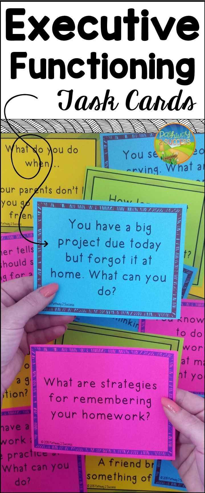 Executive functioning task cards to help with planning, attention, organization, task initiation and more!