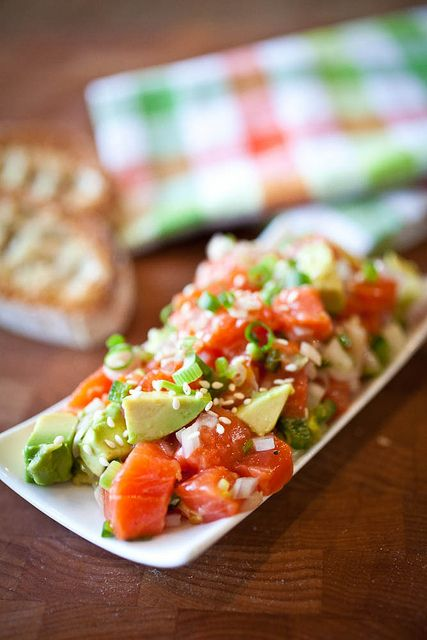 Salmon Tartar /// This inspired me to make Salmon Tartare & Creamy Pesto...basically I tossed raw salmon pieces with lemon juice & then added it to a creamy pesto pasta I made (with Kale, tomatoes, mushrooms) & it was DELICIOUS.