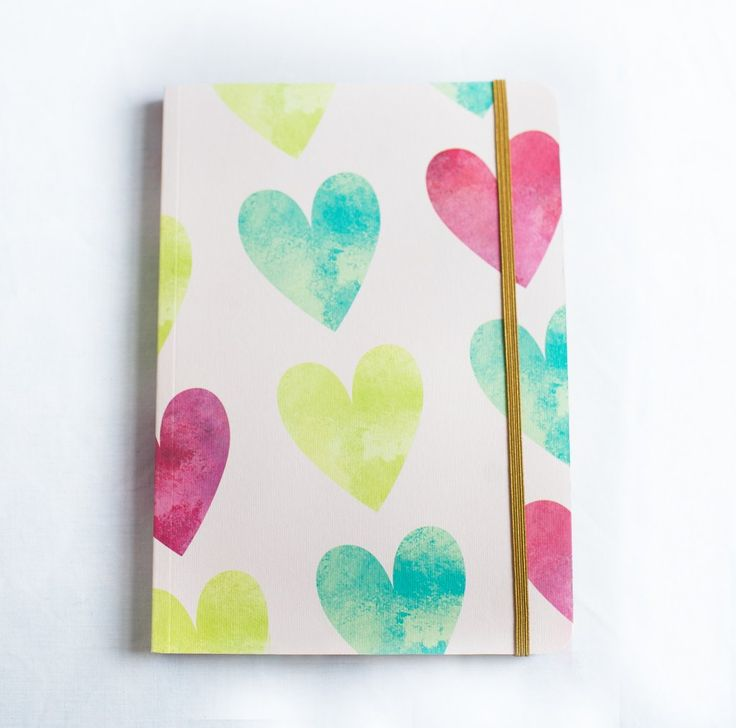 Red and Green Hearts A5 Notebook.
