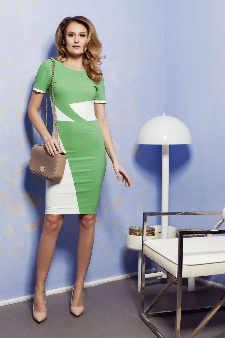Comanda online, Rochie PrettyGirl Office Color Green. Articole masurate, calitate garantata!