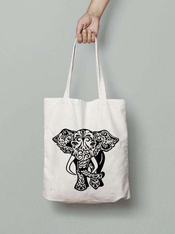 Tribal Elephant shopper tote bag canvas market bag by Mybebecadum