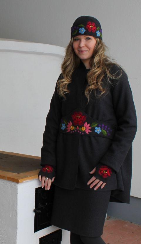 Tiame - kabátka #kalocsai mintás kiegészítőkkel, Ruha, divat, cipő, Női ruha, Kosztüm, Kabát, Meska #hungarian #coat