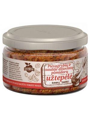 Pyszna, aromatyczna pasta warzywna z pieczarkami i suszonymi pomidorami idealna do przygotowania prawdziwie włoskiej bruschetty. Aby przyrządzić doskonałą bruschettę, wystarczy posmarować pastą ciepłe jeszcze grzanki, ewentualnie skropić dodatkowo oliwą z oliwek i zwieńczyć dzieło listkami świeżej bazylii. Bruschetty można też używać jako dodatek do patyczków grissini i innych dań w śródziemnomorskim stylu.
