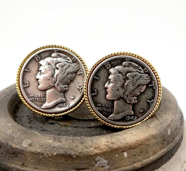 A personal favorite from my Etsy shop https://www.etsy.com/listing/554481665/vintage-1942-silver-dime-cufflinks
