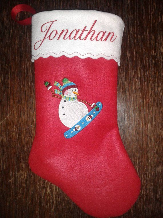 Personalized Embroidered Snowboarding Snowman Felt Christmas Stocking Embroideredstocking Angel Personalized Christmasstocking