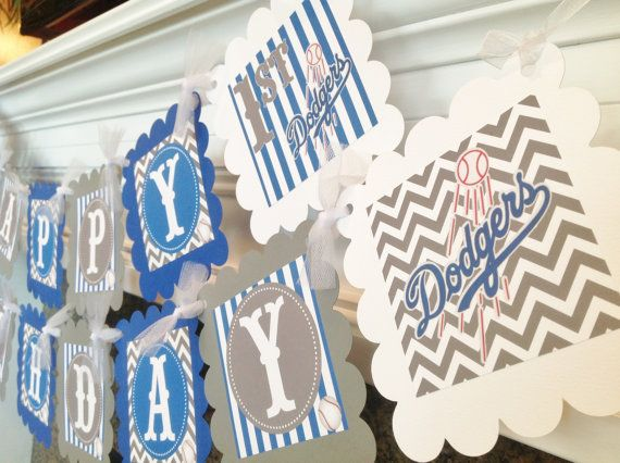 Baseball La Dodgers Inspired Happy Birthday Banner Royal
