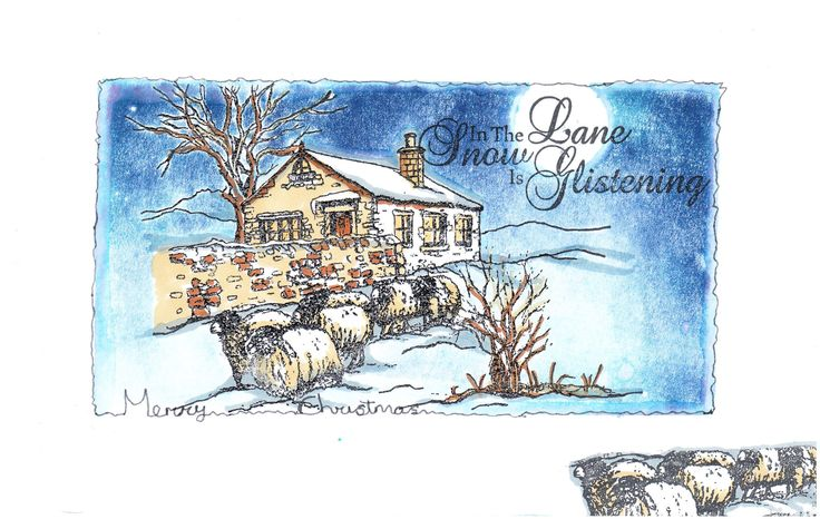 My artwork before it turned into a christmas card topper. This is using Sheena Douglas' rubber stamps.