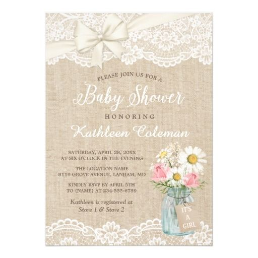 Ivory Lace Burlap Floral Mason Jar Baby Shower Card