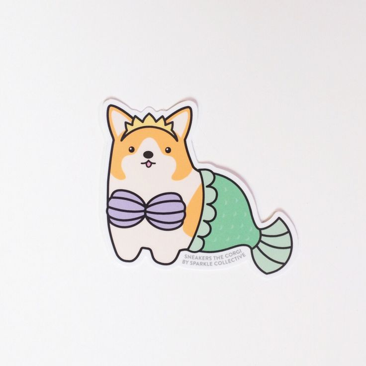 This limited edition sticker features Sneakers the Corgi as a MerCorg (a corgi mermaid). Too cute.