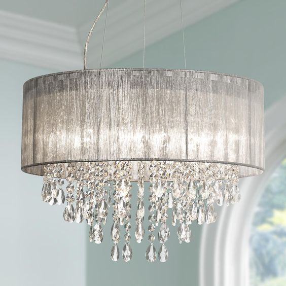 """Possini Euro Metairie 20""""W Silver Fabric Crystal Chandelier"""