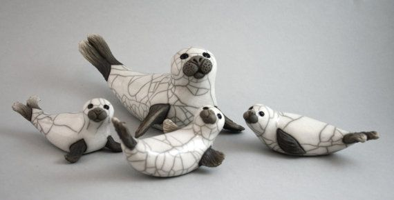 Seal Family - Ceramic Raku handmade animal sculpture