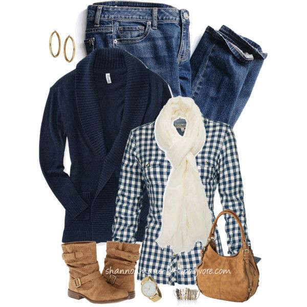 Navy Sweater with Gingham