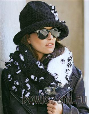 Шляпа крючком + тунисское вязания шарфика
