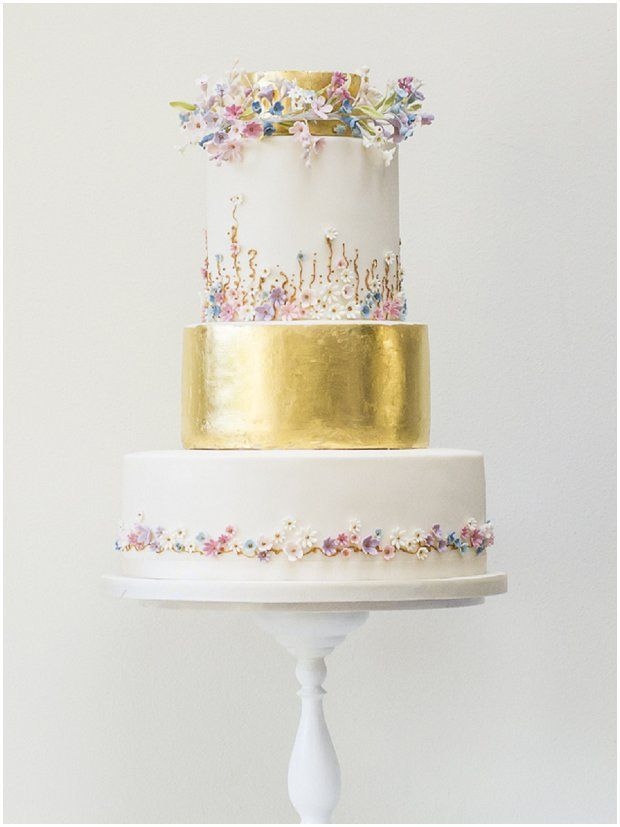Floral Couture: Wedding Cake Trend | Rosalind Miller Luxury Wedding Cakes - gold wedding cake