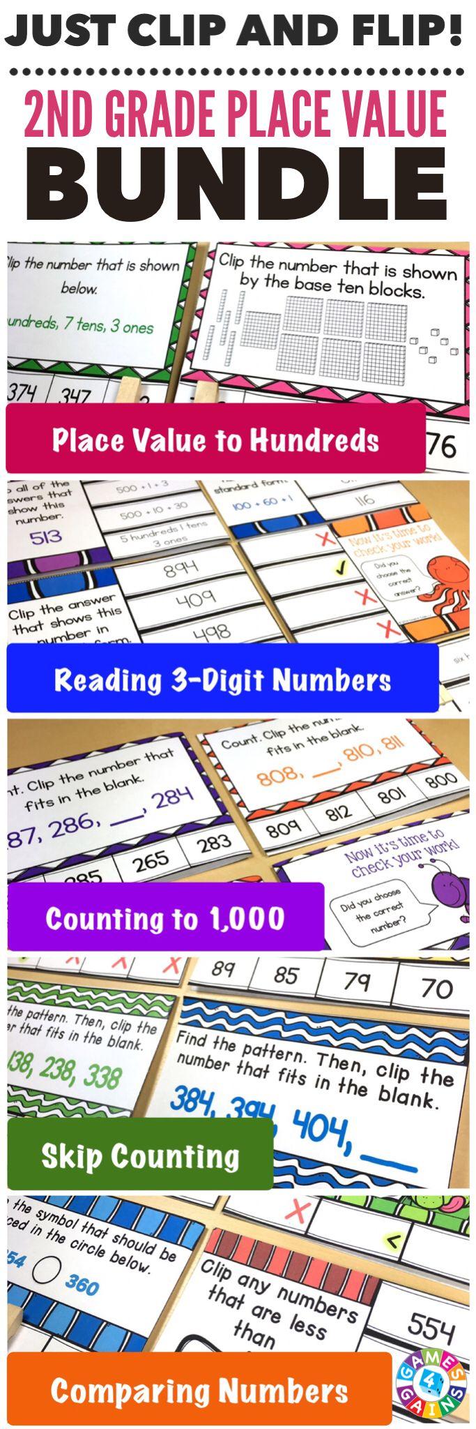 2nd Grade Place Value Clip Cards Bundle 2 Nbt 1 2 Nbt 2