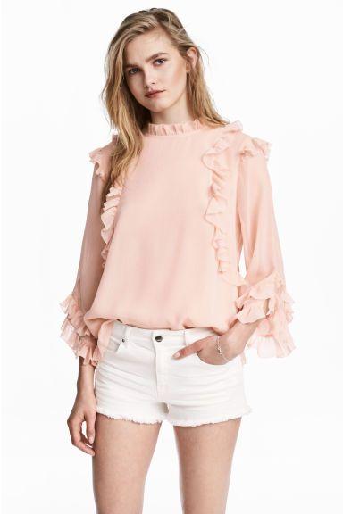 더블 레이어 시폰 블라우스 - 파우더 핑크 - Ladies | H&M KR
