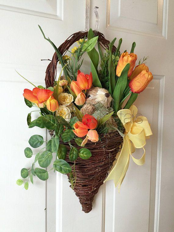 Half Wall Bunny Rabbit Basket, Easter Grapevine Spring Wreath, Bunny Carrots Arrangement, Door Hanger, Housewares Decor, Home Decoration