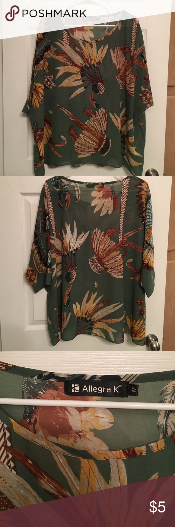 Allegra K sheer batwing top Green with feathers. Material is sheet, made for layering. 4th pic is of a small snag, hardly noticeable. Otherwise perfect condition. Worn only once. Oversize fit. Allegra K Tops Blouses