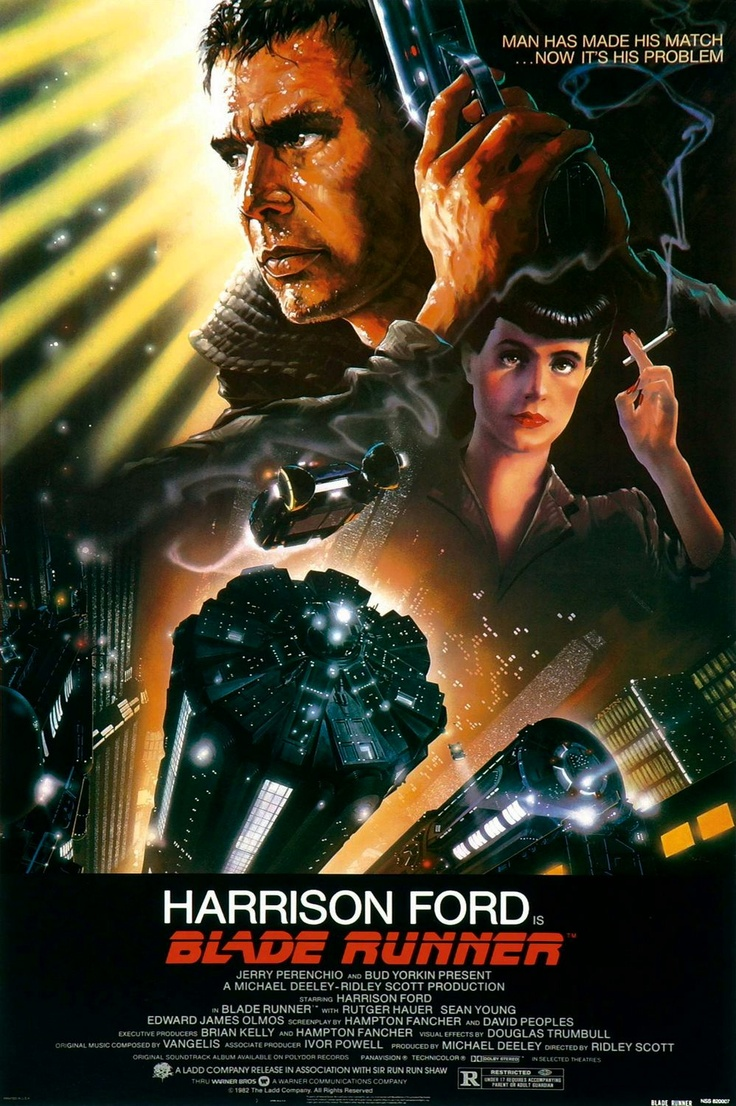A cult favourite: Harrisonford, Movie Posters, Harrison Ford, Bladerunn, Scifi, Blade Runners, Sci Fi, Ridleyscott, Ridley Scott