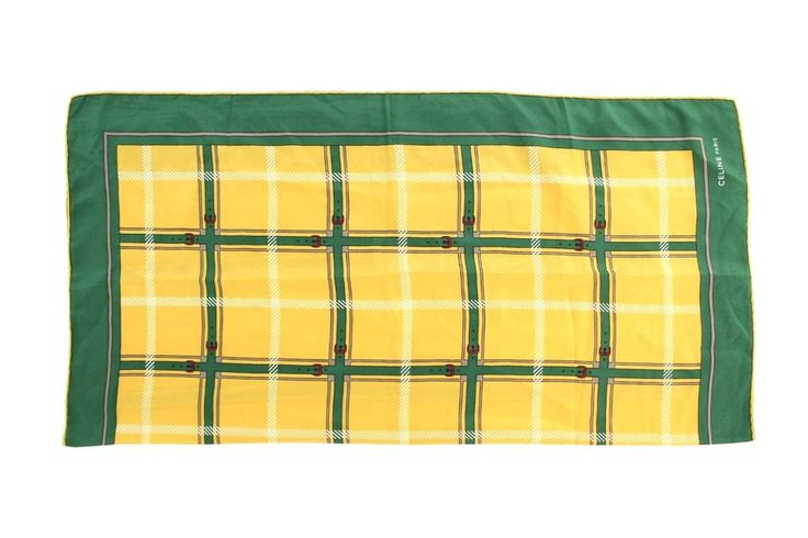 "Yellow and green belt, checkered print. #201856. Width: 29"". 