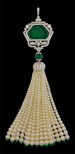 Platinum Carved Emerald, Diamond & Pearls Tassle Pendant - Yafa Jewelry