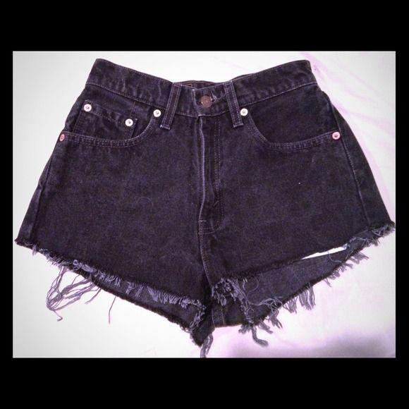 "High waisted vintage Levi cheeky shorts Black cheeky high waisted shorts. Vintage Levi's. Waist @ 24"". Seam @ 10.5"". Levi's Jeans"