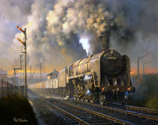 British Railways Standard Class 9F 2-10-0 freight locomotive No.92137 from Saltley shed gets to grips with a southbound coal train passing beneath the Birmingham New Street to London Euston main line and over Brickyard Crossing, Birmingham on the steep gradient up to Camp Hill c1960. - Philip D Hawkins