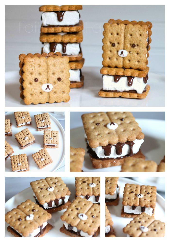 DIY Rilakkuma S'mores Recipe - Homemade marshmallows and graham crackers really take these to the next level! FaithFoodFamilyFun