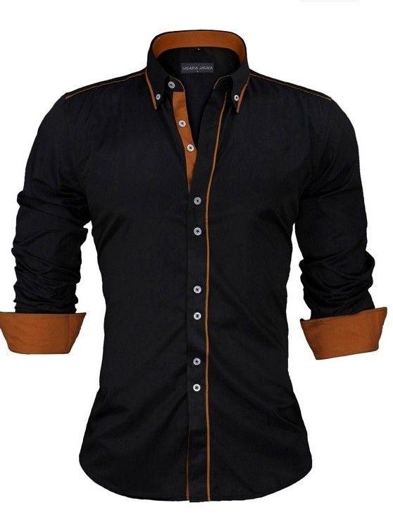 Camisa Casual/Social con Detalles en Contraste - Estilo Actual - en Blanco, Negro y Azul Claro - comprar online